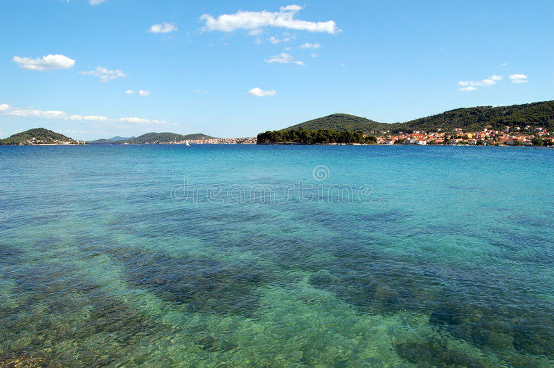 Sea surface. Clear transparent sea water, Adriatic sea, Croatia stock photo