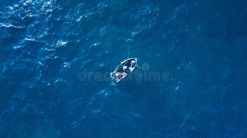 Sea surface with boat aerial view royalty free stock image