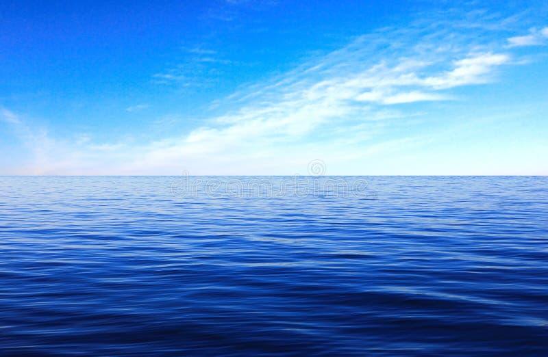 Sea Surface cloud sky. Blue ocean wave stock photo