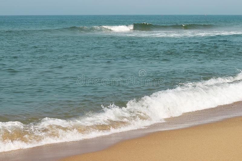 Sea surface with waves and foam, top view, natural background stock image
