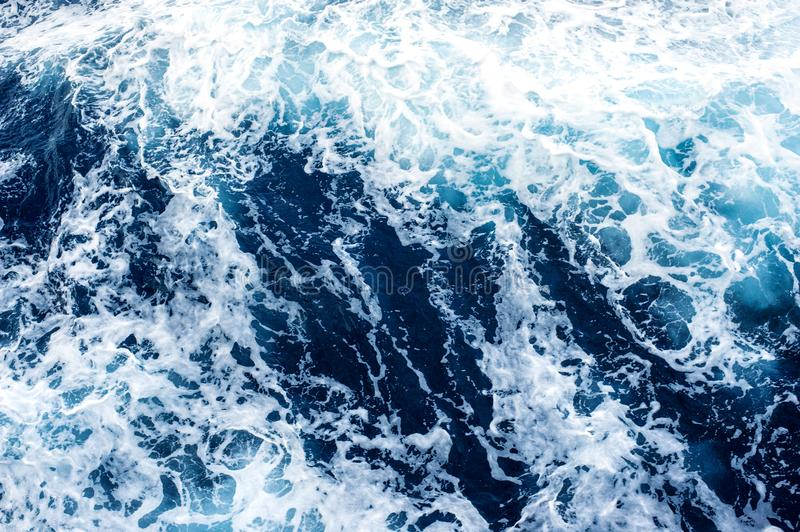 Sea Surface with Waves and Foam. View from above stock photography