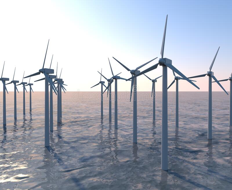Sea surface wind turbines. A propeller that rotates in response to the wind. 3D illustration. Install a wind turbine in consideration of the global environment vector illustration