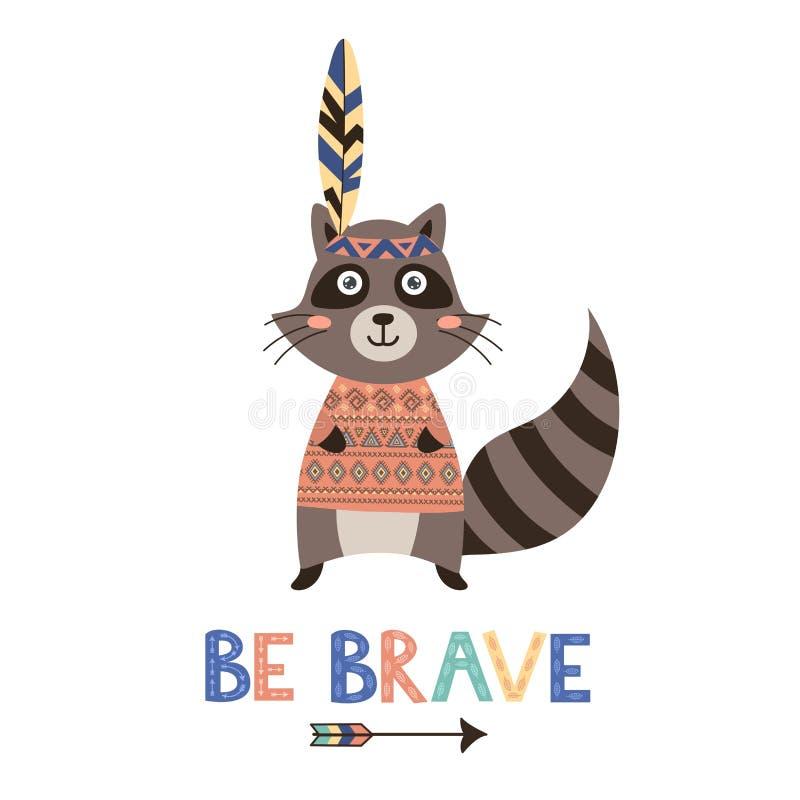 Sea tarjeta valiente del vector con un mapache lindo ilustración del vector
