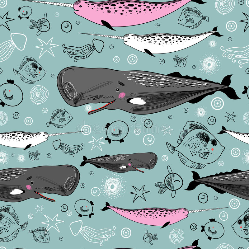 Sea texture of the whales and fishes. Marine seamless pattern of the fun of whales and fish on a blue background stock illustration