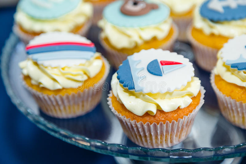 Sea thematic cupcakes. On the table royalty free stock photo