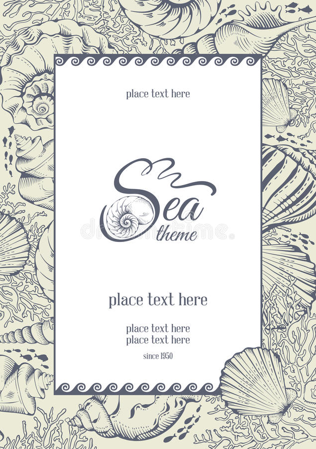 Sea theme. Vintage card with hand drawn sea elements - shells and corals. Vector illustration vector illustration