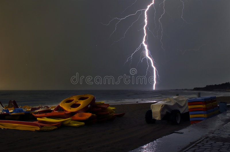 The sea in a thunder-storm stock image