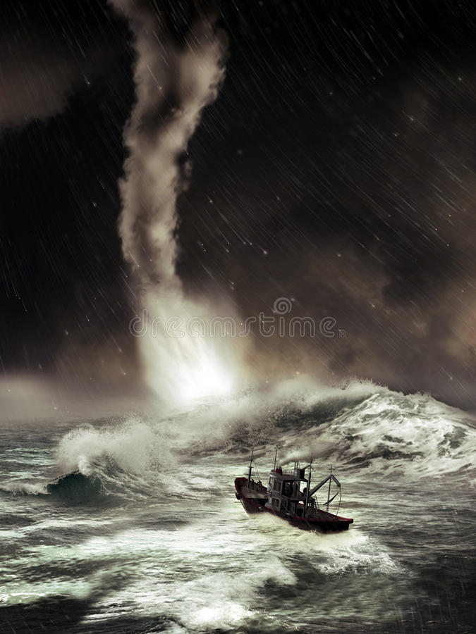 Sea tornado. Tornado on the sea with gigantic waves, close to a fishing boat stock illustration