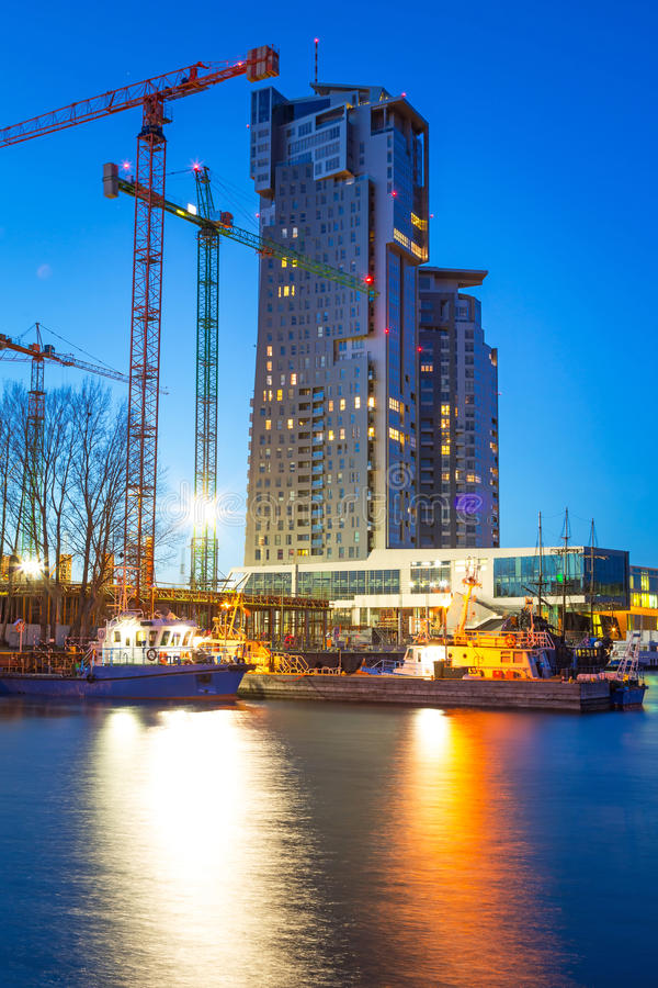 Download Sea Towers Skyscraper At Night Stock Image - Image of business, facade: 38465809