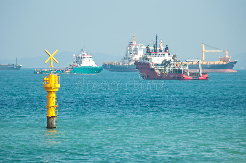 Sea Traffic Crossing. The sign of crossing junction for sea traffic stock images
