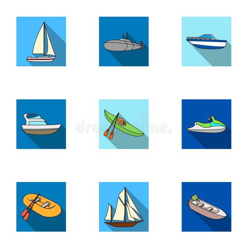 Sea transport, boats, ships. To transport people, thunderstorms. Ship and water transport icon in set collection on flat stock illustration
