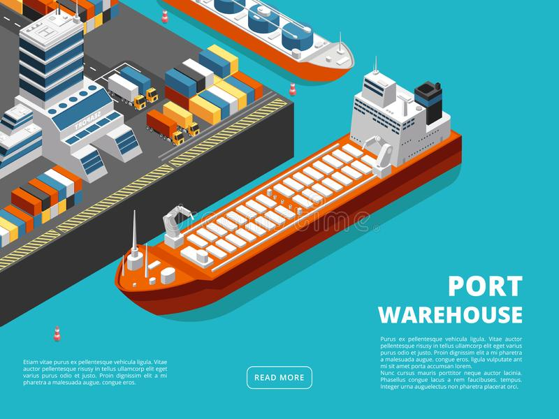 Sea transportation horizontal sea freight and shipping background with isometric seaport royalty free illustration
