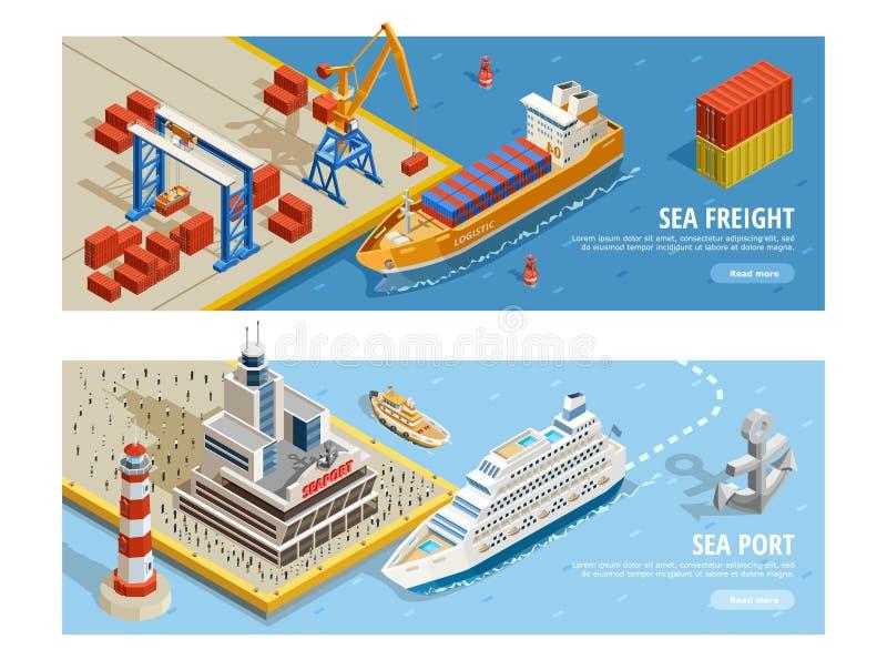 Sea Transportation Isometric Horizontal Banners royalty free illustration
