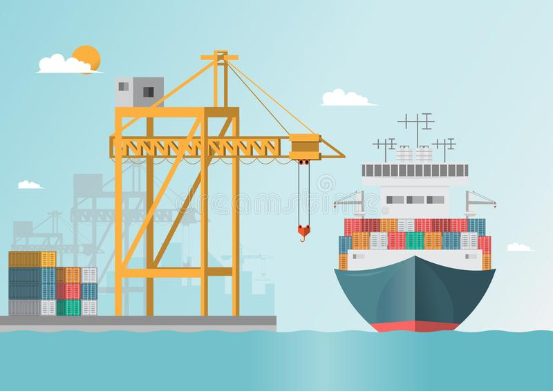 Sea transportation logistic. Sea Freight. Cargo ship, container. Shipping on flat style. Vector illustration stock illustration