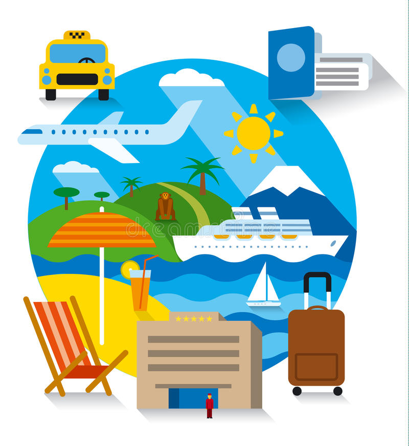 Sea travel and cruise. Travel and tourism concept flat illustration, sea resort, cruise and journey royalty free illustration
