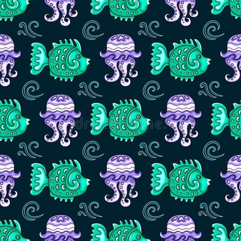 Sea travel seamless background series royalty free illustration