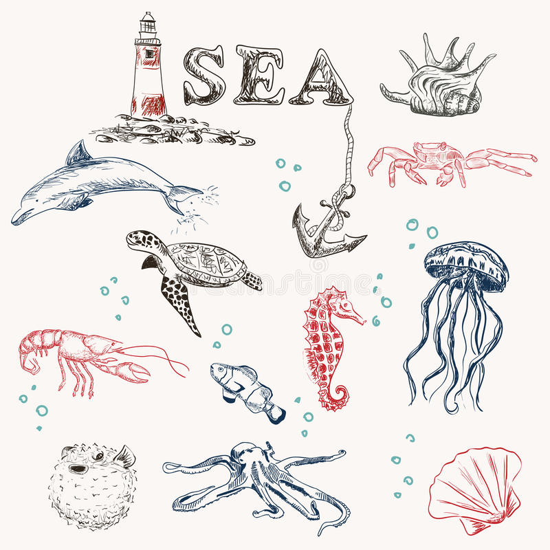 Sea travel set royalty free illustration