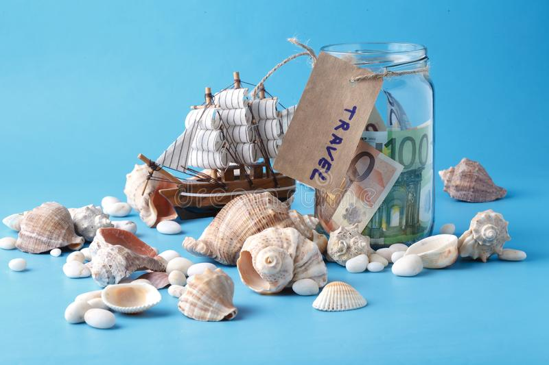 Sea travel in vacation concet with shell and ship royalty free stock images