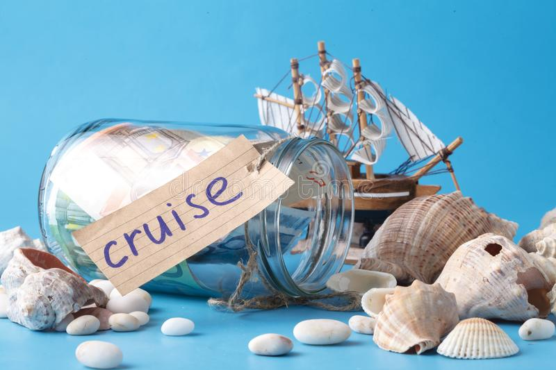 Sea travel in vacation concet with shell and ship stock images