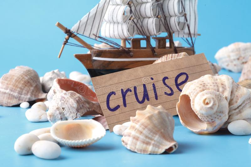 Sea travel in vacation concet with shell and ship royalty free stock photos