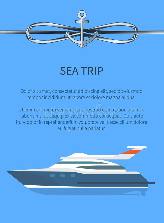 Sea Trip Ship and Text Sample Vector Illustration. Sea trip ship and text sample and lettering, steamboat and cordage with anchor above, poster with vessel and vector illustration