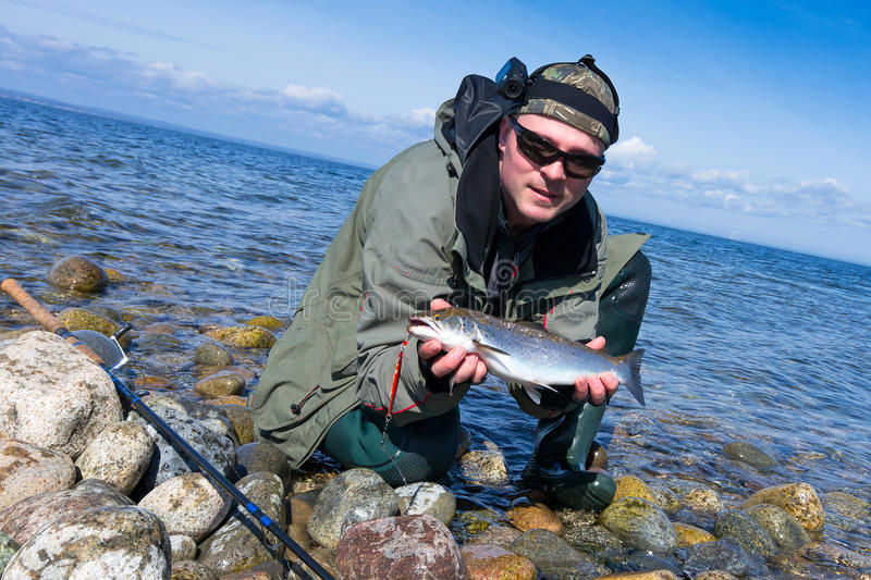 Sea Trout Fishing Adventure Stock Photo