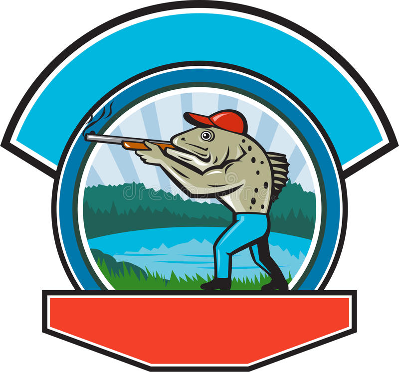 Sea Trout Hunter Shooting Circle Retro. Illustration of a spotted sea trout fish hunter hunting aiming a shotgun rifle viewed from side with lake, trees and vector illustration