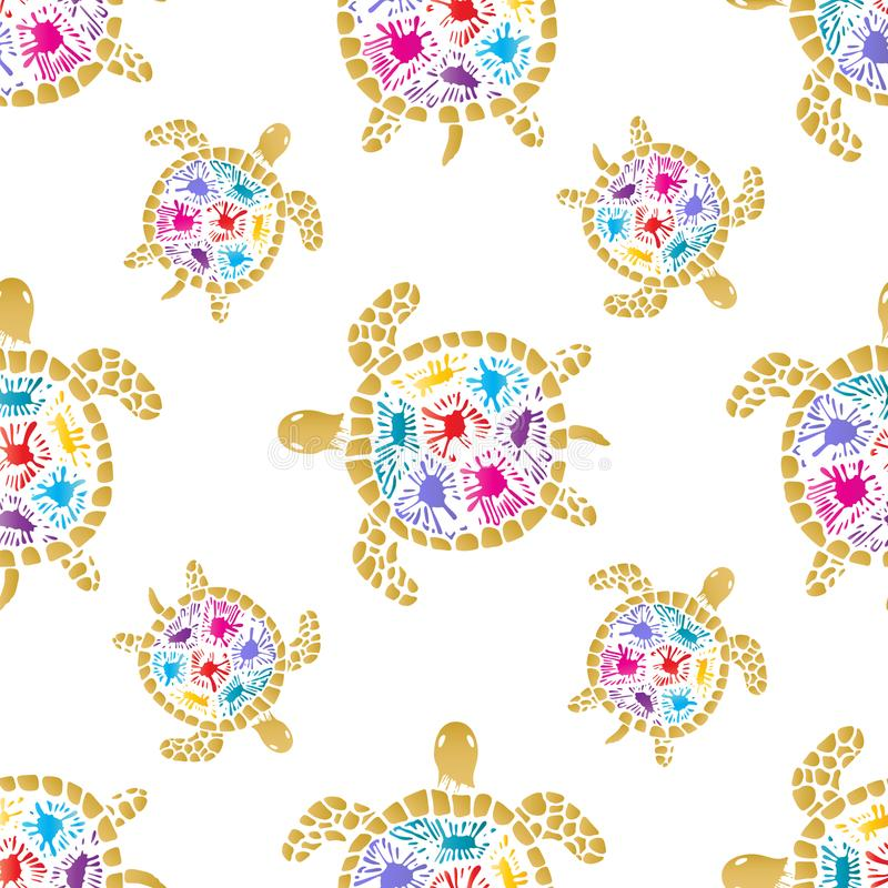 Sea turtle with colored blots on the shell seamless pattern. royalty free illustration