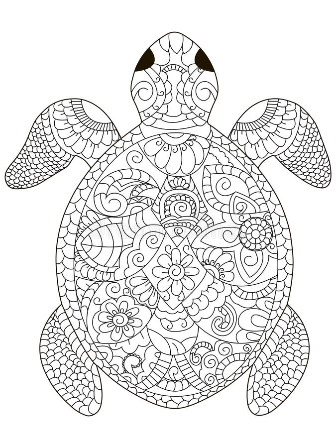 Sea Turtle Coloring Vector For Adults Stock Vector