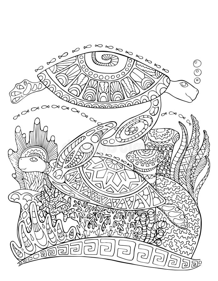 Sea turtle doodle style coloring page. Underwater illustration for adult coloring. vector illustration