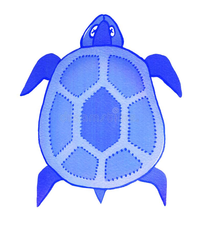 Sea turtle, isolated on white background, gouache vector illustration