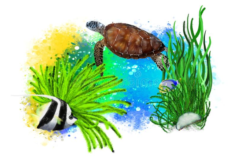 Sea turtle, jellyfish and tropical fish on abstract background. stock illustration