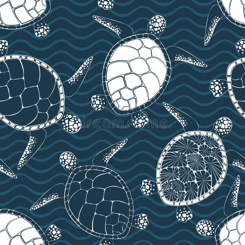 Free Sea Turtles Seamless Vector Pattern Stock Photos - 154981363