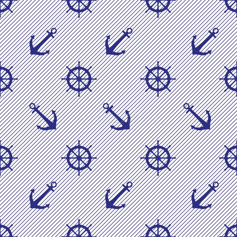 Sea two-color pattern from ship`s steering wheels and anchors on a striped background. royalty free illustration