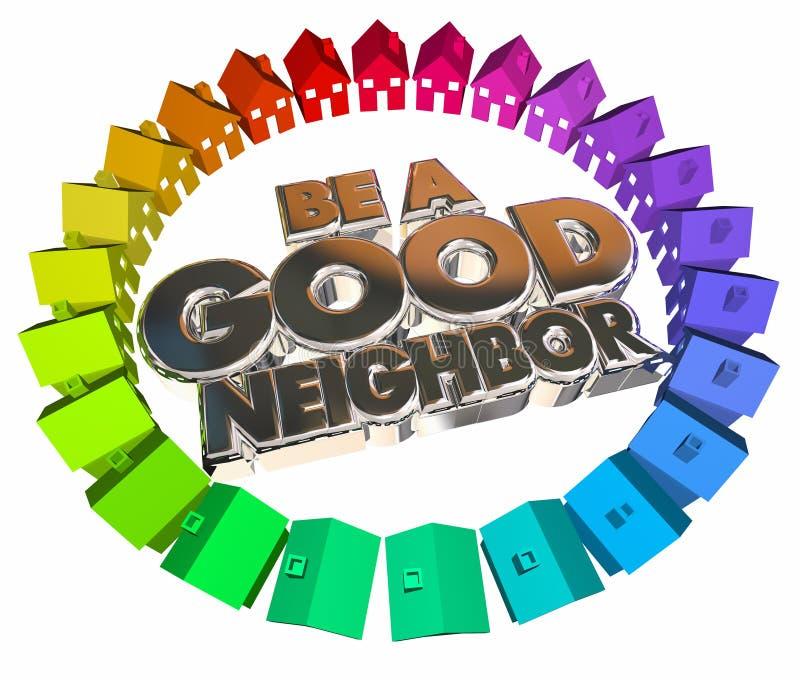Sea una buena comunidad de los hogares de las casas del vecino stock de ilustración