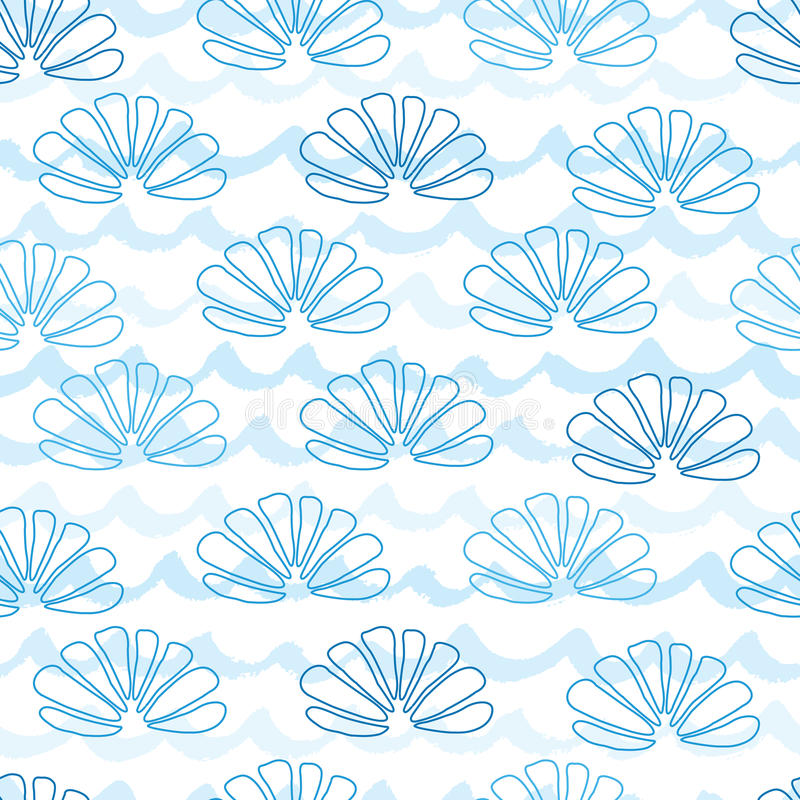 Sea and underwater seamless pattern decorated hand drawn blue seashells on waves stock illustration