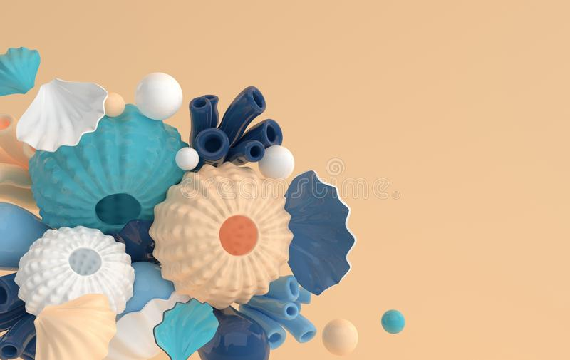 Sea urchins, shells, coral and bubbles set. 3d rendering marine life background. Summer vacation, ocean underwater life concept stock illustration