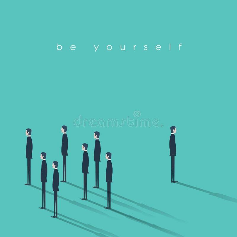Sea usted mismo ejemplo del vector del concepto del negocio El hombre de negocios innovador y creativo se destaca de la muchedumb libre illustration