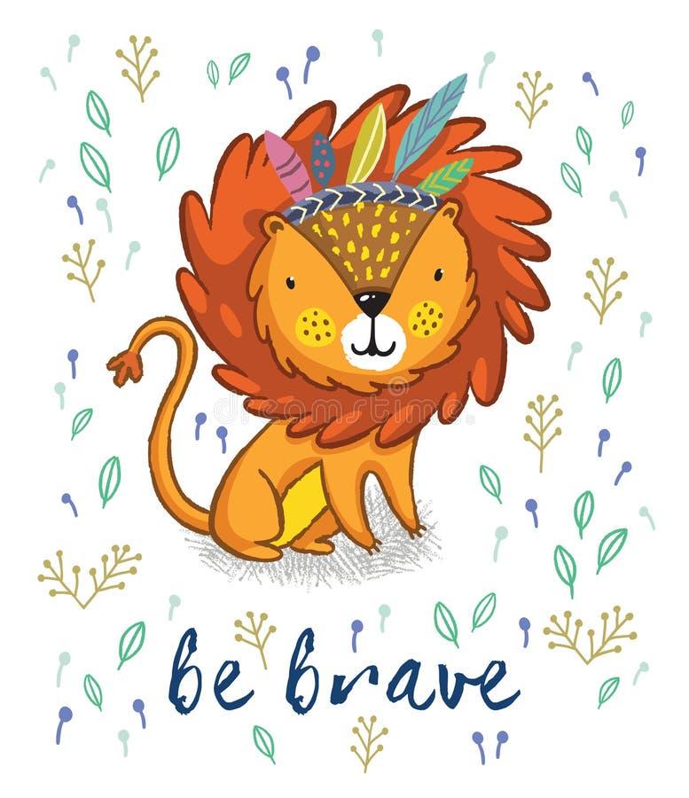 Sea valiente Ejemplo lindo del vector de la historieta del león stock de ilustración