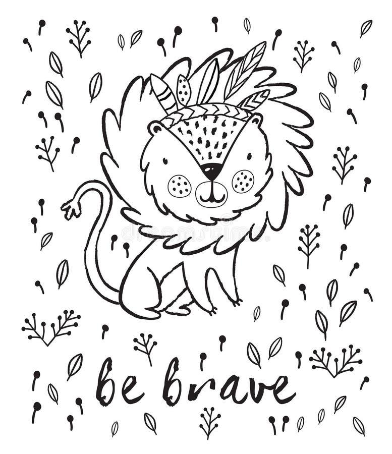 Sea valiente Ejemplo lindo del vector de la historieta del león en esquema ilustración del vector