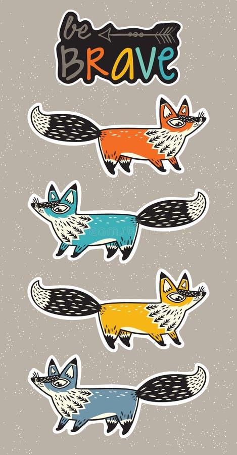 Sea valiente Sistema de la etiqueta engomada de zorros en estilo de la historieta ilustración del vector