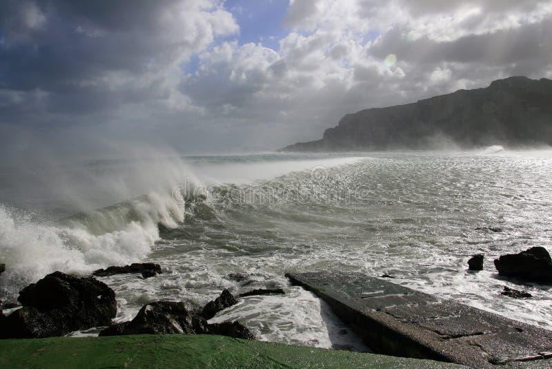 Sea Vawes Crashing On Wind Stock Photography