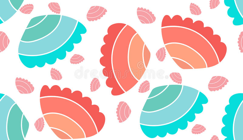 Sea vector seamless pattern. Pattern shell vector seamless sea stock illustration