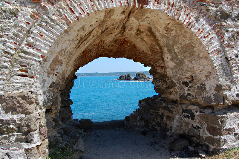 Sea View From Ancient Window Royalty Free Stock Photography