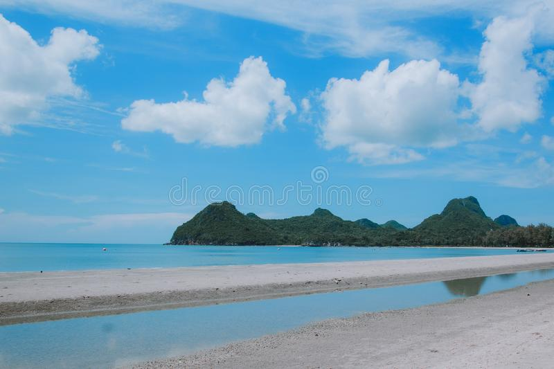 Sea view with beautiful clouds. Sky, ocean, nature, beauty, background, blue, water, summer, horizon, travel, beach, outdoor, landscape, sun, vacation, sunny stock image