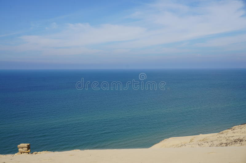 Sea view. Blue sky and blue sea - Rubjerg Knude, Denmark royalty free stock image