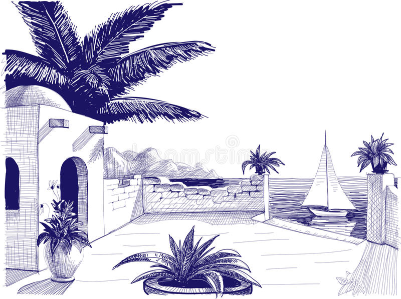 Sea view drawing stock vector image of mediterranean for Beach house drawing
