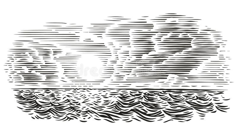 Sea view engraving style illustration. Vector, isolated, layered. For print or web royalty free illustration