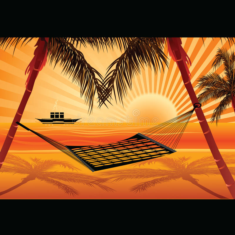 Download Sea view and hammock stock illustration. Image of sunrise - 11071473