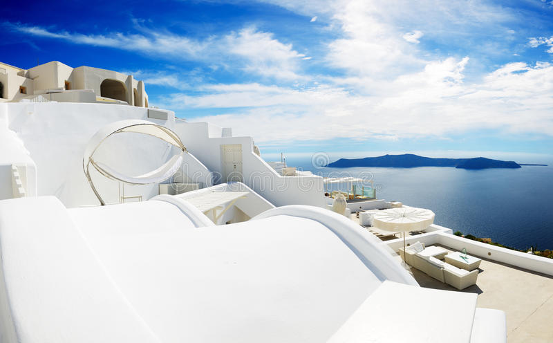 The sea view hammock at luxury hotel. Santorini island, Greece royalty free stock photos